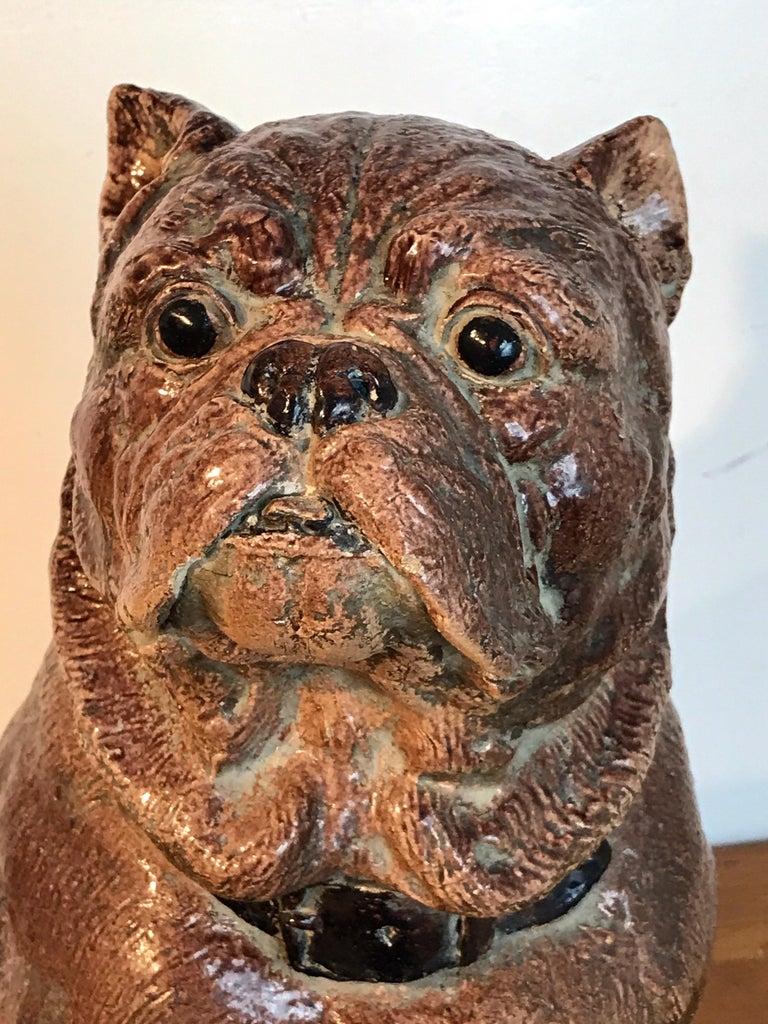 Glazed Large Antique English Stoneware Figure of a Seated Pug For Sale