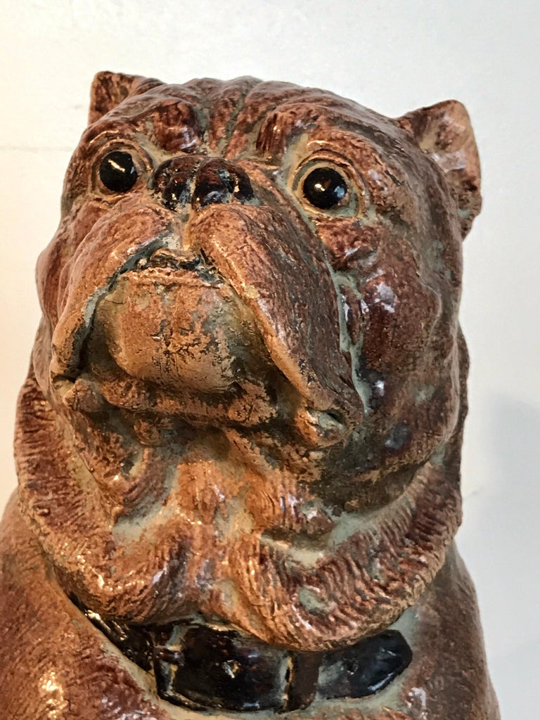Large Antique English Stoneware Figure of a Seated Pug In Good Condition For Sale In West Palm Beach, FL