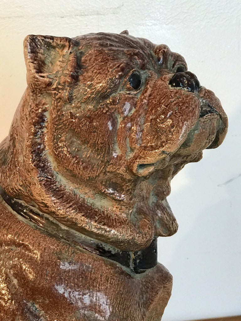 Large Antique English Stoneware Figure of a Seated Pug For Sale 1