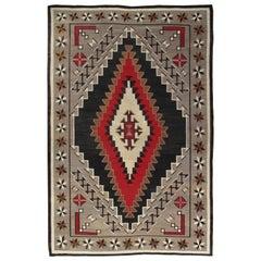 Large Antique Eye Dazzler Navajo Carpet, Handmade, Wool, Beige, Tan, Gray & Red