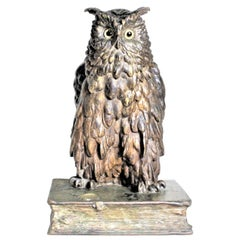 Large Antique F. Berman Austrian or Vienna Cold-Painted Bronze Owl Sculpture
