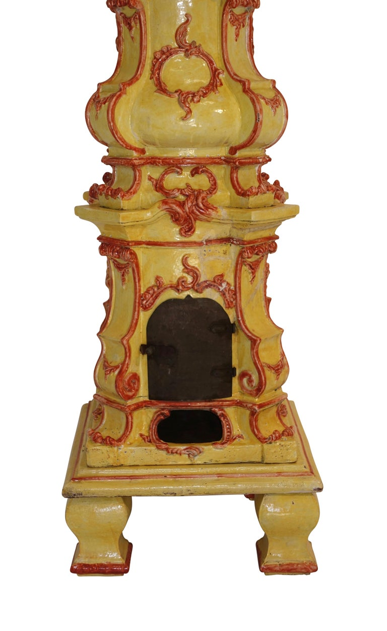 Rococo Large Antique Faience Stove, European, 19th Century For Sale