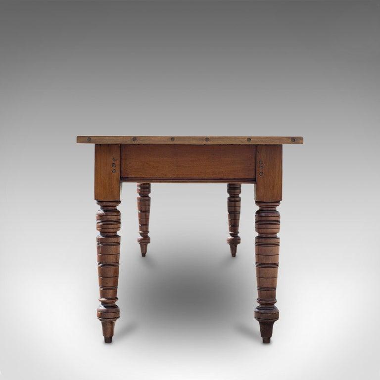 British Large Antique Farmhouse Table, English, Mahogany, Pine, Dining, Kitchen, C.1900