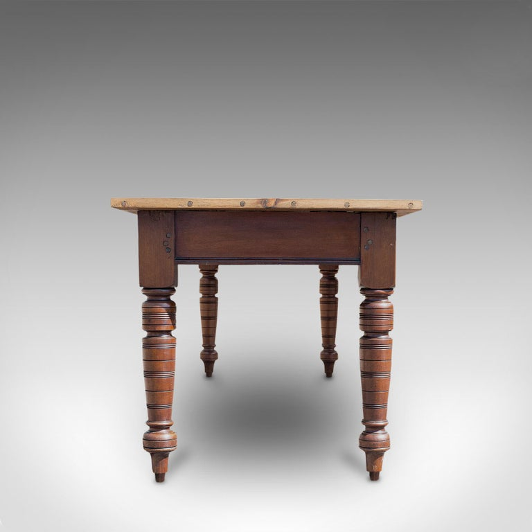 Large Antique Farmhouse Table, English, Mahogany, Pine, Dining, Kitchen, C.1900 In Good Condition In Hele, Devon, GB
