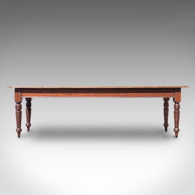 19th Century Large Antique Farmhouse Table, English, Mahogany, Pine, Dining, Kitchen, C.1900