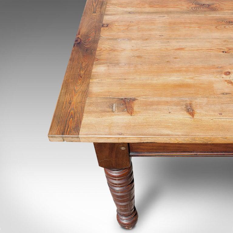 Large Antique Farmhouse Table, English, Mahogany, Pine, Dining, Kitchen, C.1900 3