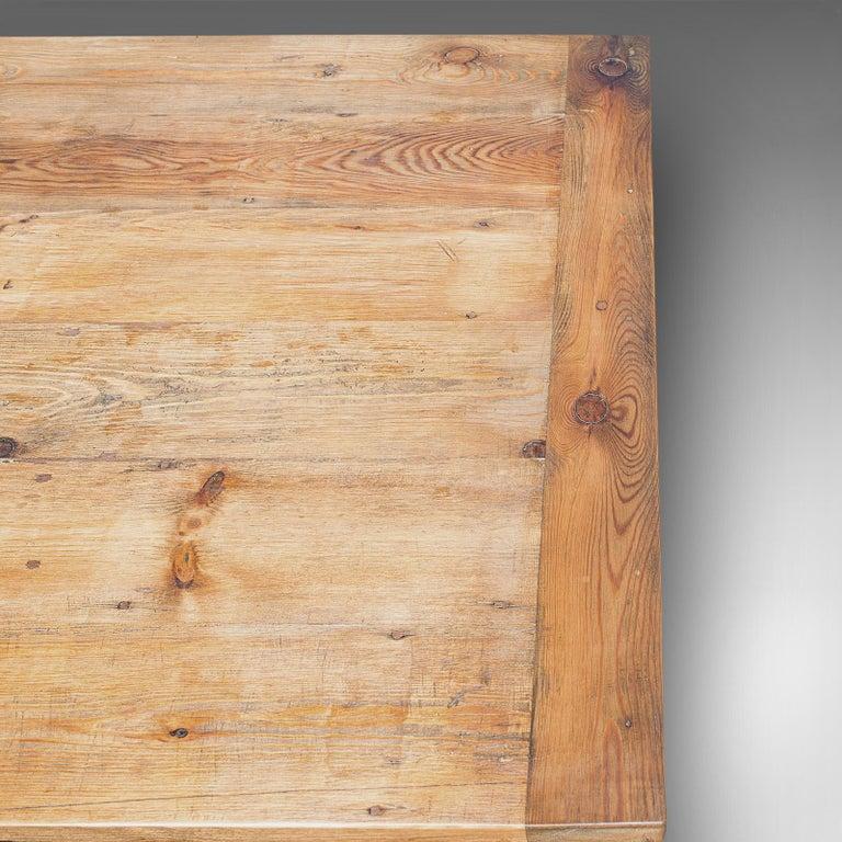 Large Antique Farmhouse Table, English, Mahogany, Pine, Dining, Kitchen, C.1900 4