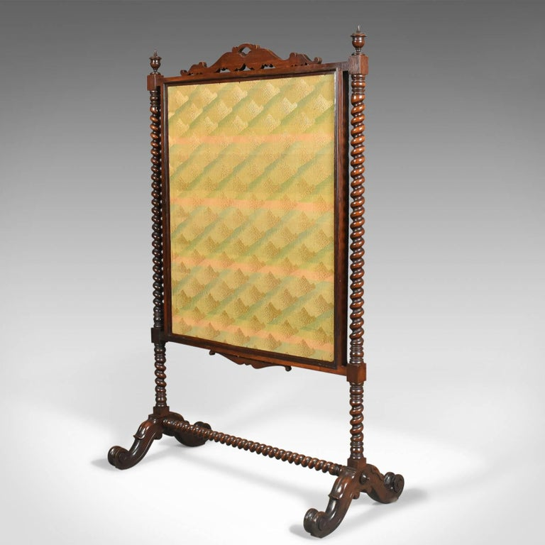 Dutch Large Antique Fire Screen, Needlepoint Tapestry Panel, Walnut Frame, circa 1850 For Sale