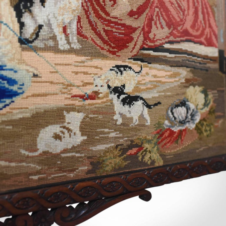 Large Antique Fire Screen, Needlepoint Tapestry Panel, Walnut Frame, circa 1850 For Sale 2