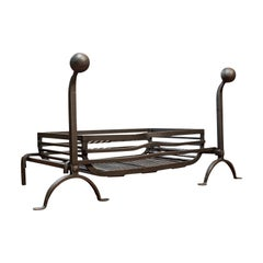 Large Antique Fireplace, English, Wrought Iron, Fire Basket, Andirons, Victorian