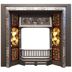Large Antique Fireplace Insert with Original Tiles and Polished Details