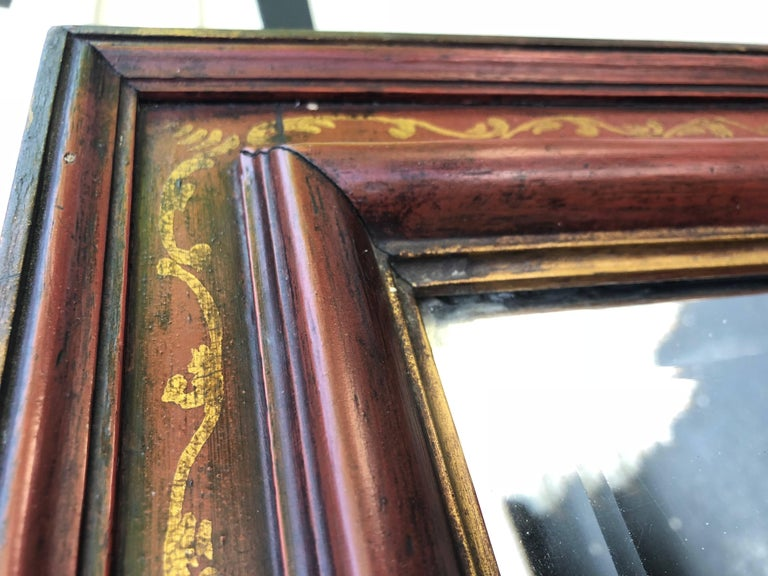 Large Antique Floor Mirror with Bevelled Mirror Glass For Sale 3