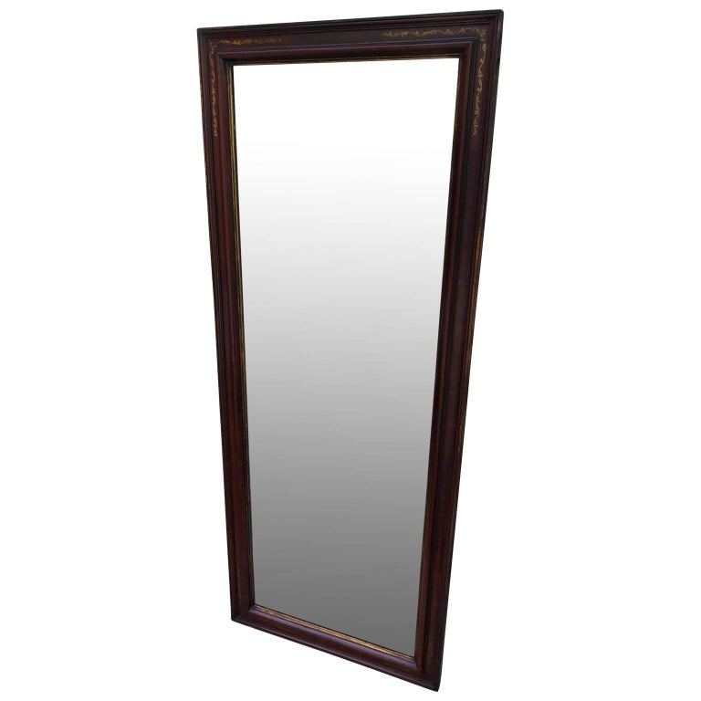 Empire Large Antique Floor Mirror with Bevelled Mirror Glass For Sale