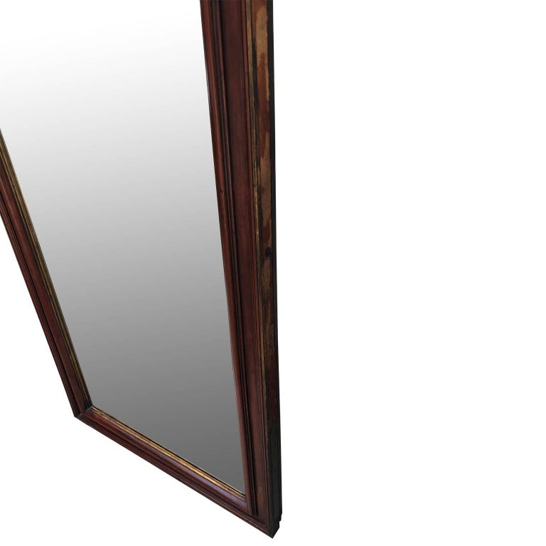 French Large Antique Floor Mirror with Bevelled Mirror Glass For Sale