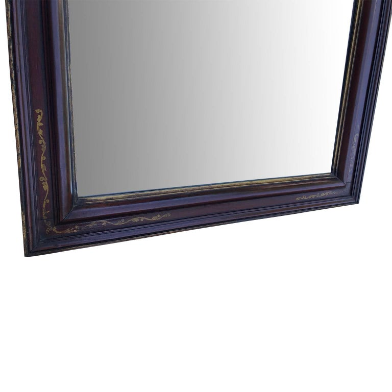 Beveled Large Antique Floor Mirror with Bevelled Mirror Glass For Sale