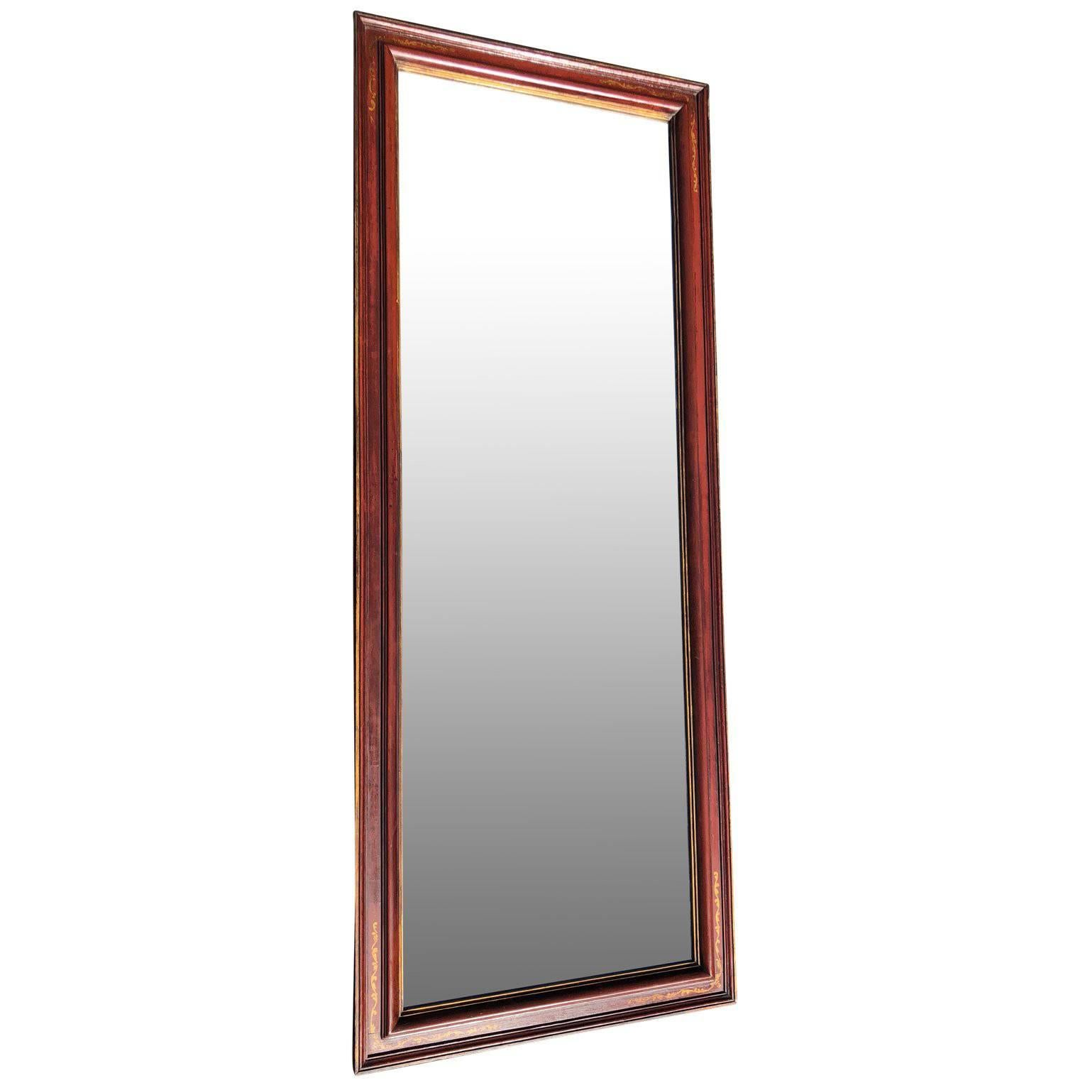Large Antique Floor Mirror with Bevelled Mirror Glass