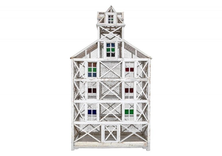 Hand-Painted Large Antique Folk Art Dovecote in Gray Paint  For Sale