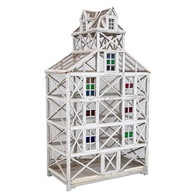 Large Antique Folk Art Dovecote in Gray Paint  For Sale