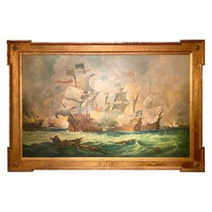 Large Antique Framed Oil Painting of British Royal Navy Battle, Circa 1900-1920