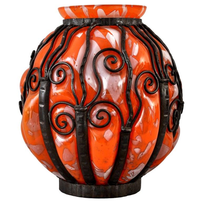 Large Antique French Art Deco Glass Iron Vase Daum Majorelle Lorrain Nancy 1920s For Sale 5