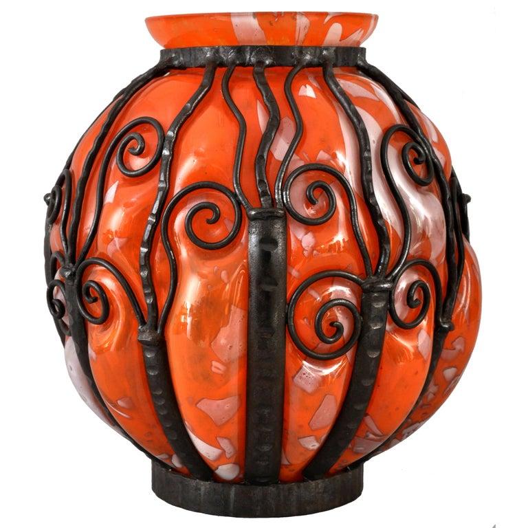 Large Antique French Art Deco Glass Iron Vase Daum Majorelle Lorrain Nancy 1920s For Sale 3