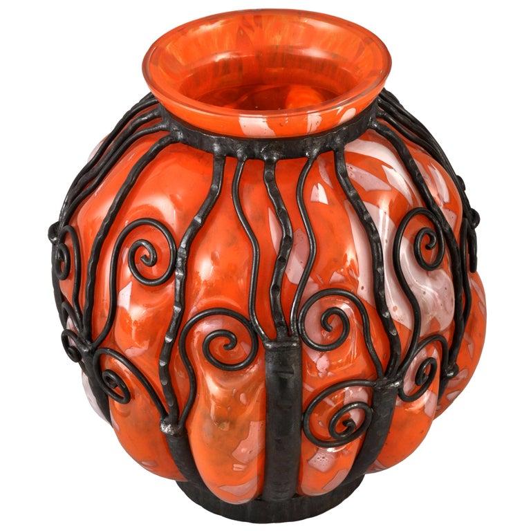 Large Antique French Art Deco Glass Iron Vase Daum Majorelle Lorrain Nancy 1920s For Sale 4