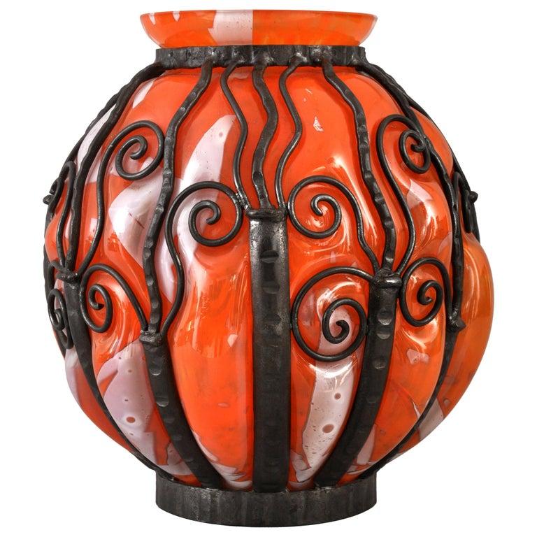 Large Antique French Art Deco Glass Iron Vase Daum Majorelle Lorrain Nancy 1920s For Sale