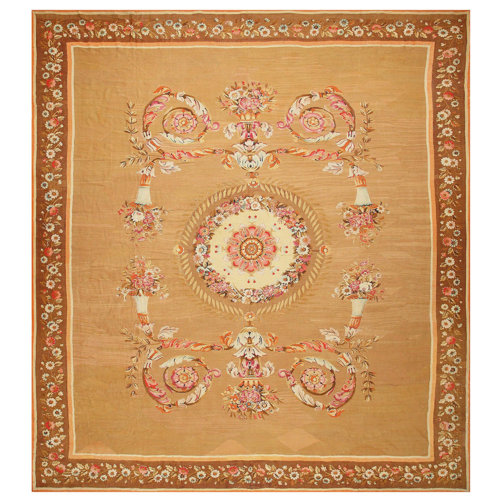 Large Antique French Aubusson Carpet. Size: 15 ft 4 in x 16 ft 8 in