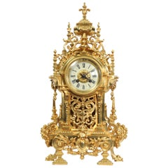 Large Antique French Baroque Gilt Bronze Clock