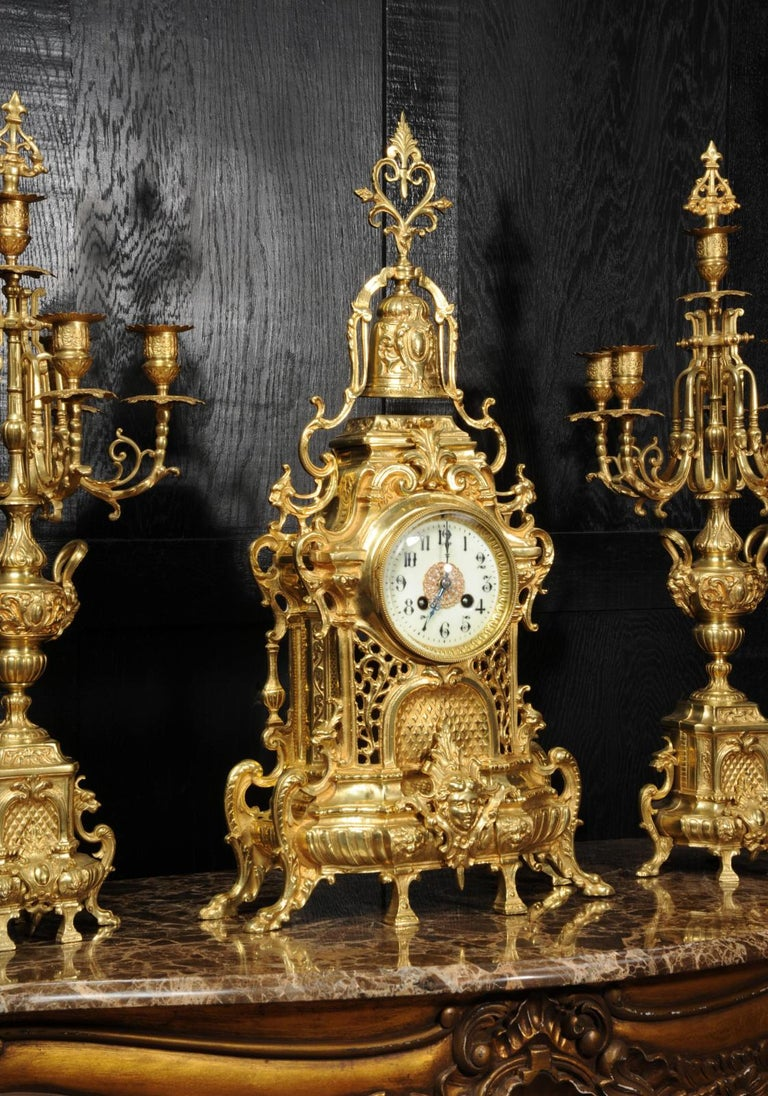 Large Antique French Baroque Gilt Bronze Clock Set by Japy Freres 6