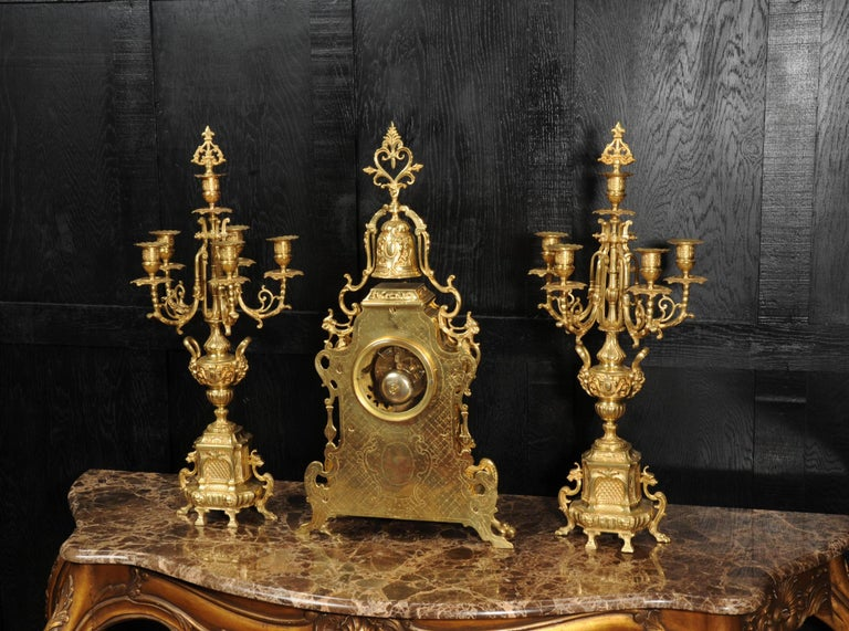 Large Antique French Baroque Gilt Bronze Clock Set by Japy Freres 7