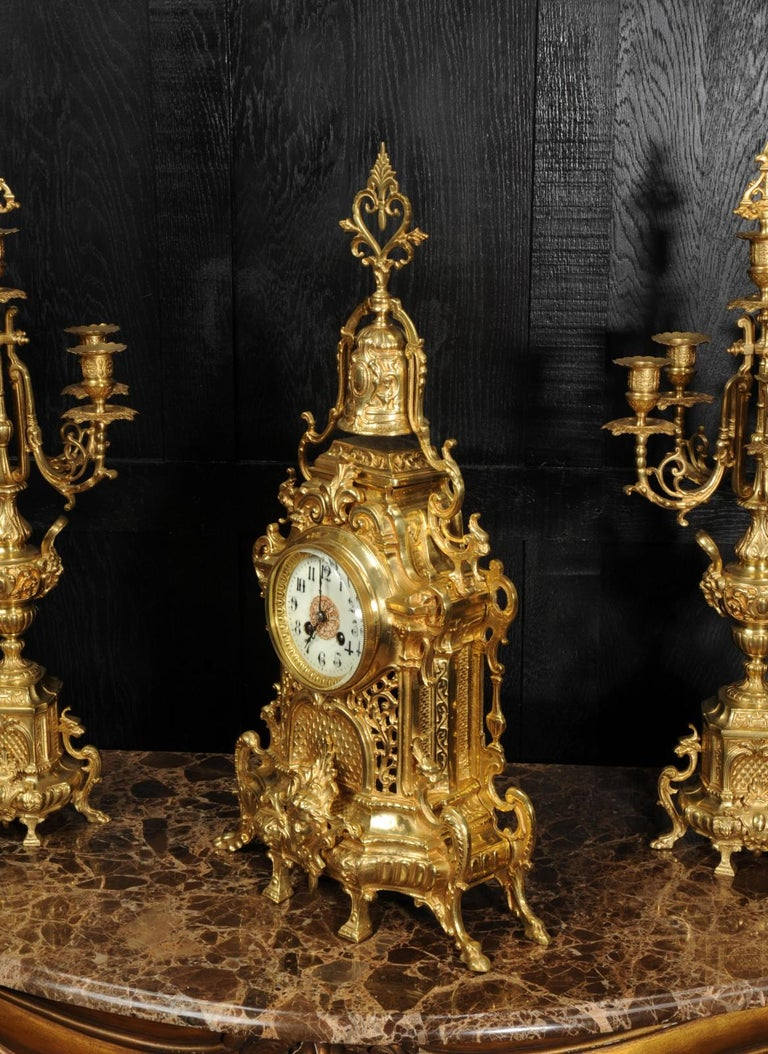 Large Antique French Baroque Gilt Bronze Clock Set by Japy Freres 8