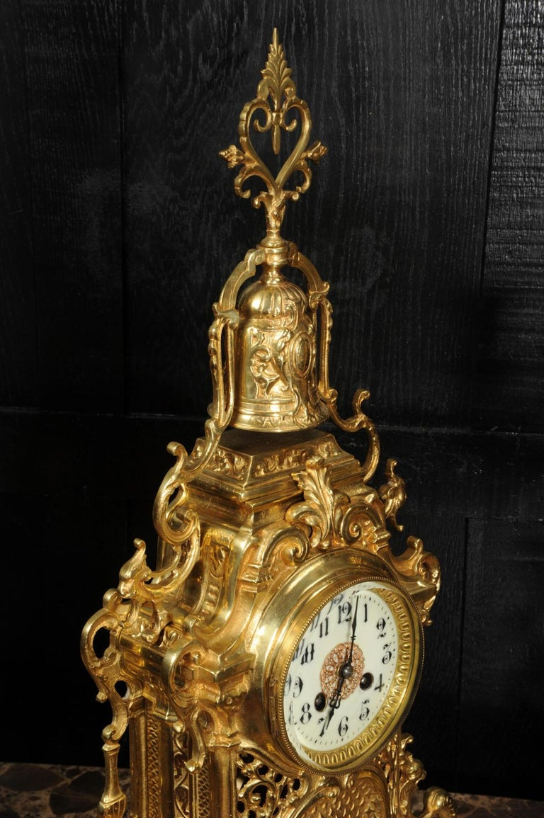 Large Antique French Baroque Gilt Bronze Clock Set by Japy Freres 9