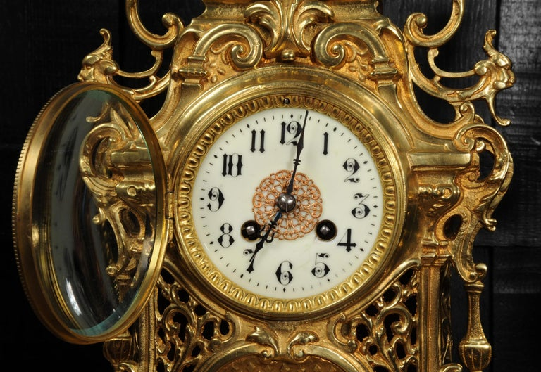 Large Antique French Baroque Gilt Bronze Clock Set by Japy Freres 11
