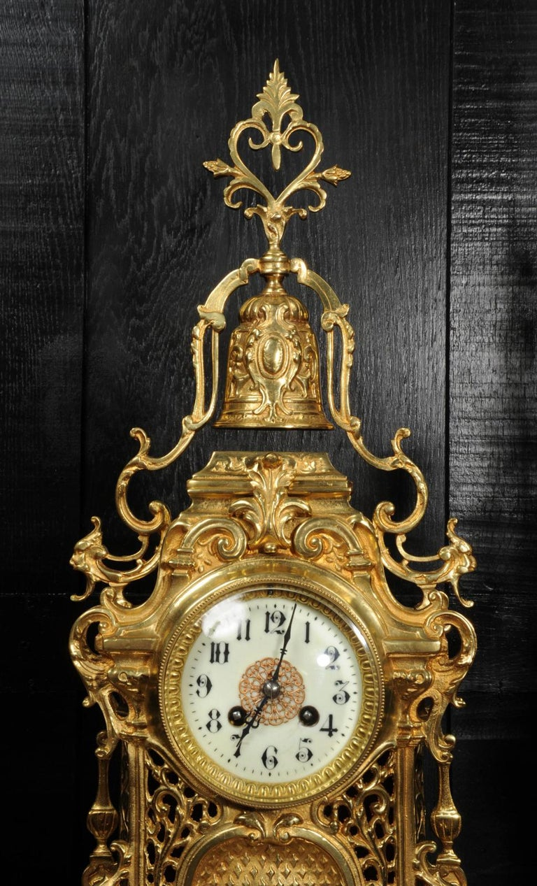 Large Antique French Baroque Gilt Bronze Clock Set by Japy Freres 12