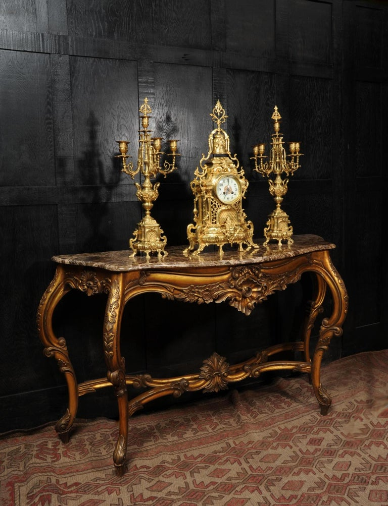 Large Antique French Baroque Gilt Bronze Clock Set by Japy Freres In Good Condition In Belper, Derbyshire