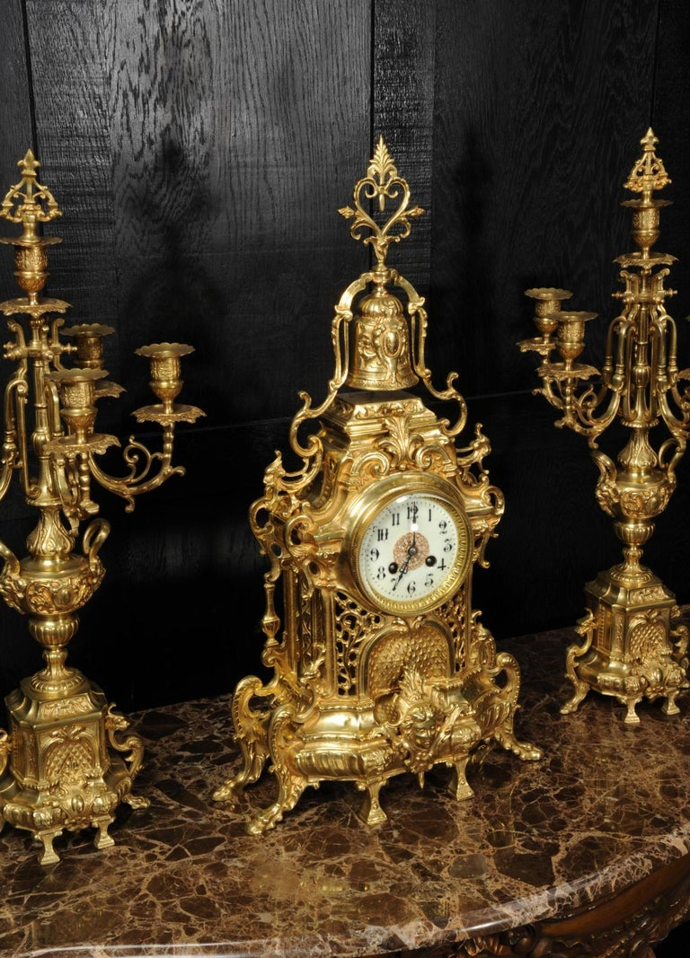 19th Century Large Antique French Baroque Gilt Bronze Clock Set by Japy Freres