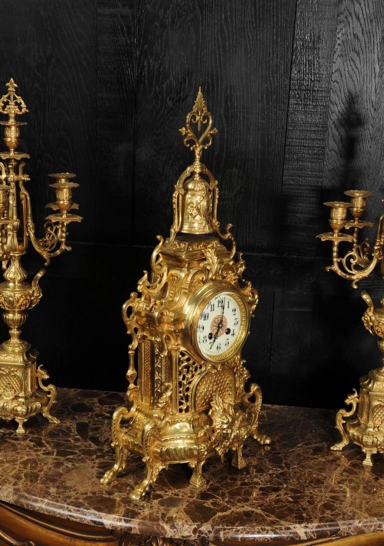 Large Antique French Baroque Gilt Bronze Clock Set by Japy Freres 1