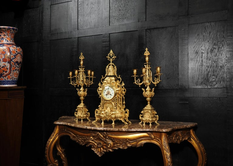 Large Antique French Baroque Gilt Bronze Clock Set by Japy Freres 2