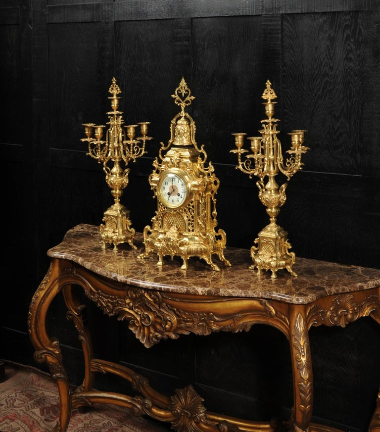 Large Antique French Baroque Gilt Bronze Clock Set by Japy Freres 3