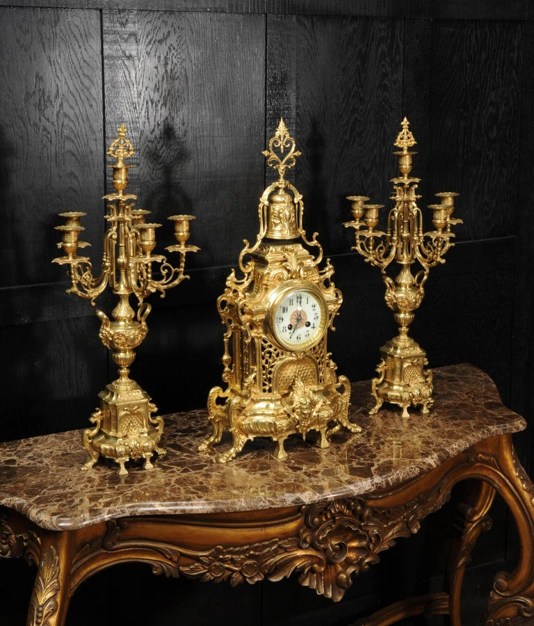 Large Antique French Baroque Gilt Bronze Clock Set by Japy Freres 4