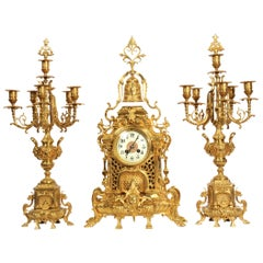 Large Antique French Baroque Gilt Bronze Clock Set by Japy Freres