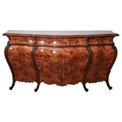 Large Antique French Burr Walnut Bombe Shaped Sideboard
