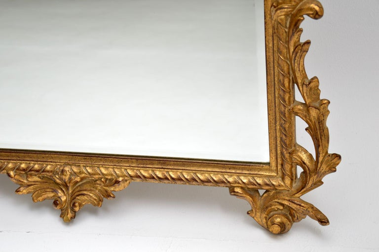 Large Antique French Carved Gilt Wood Mirror For Sale 4