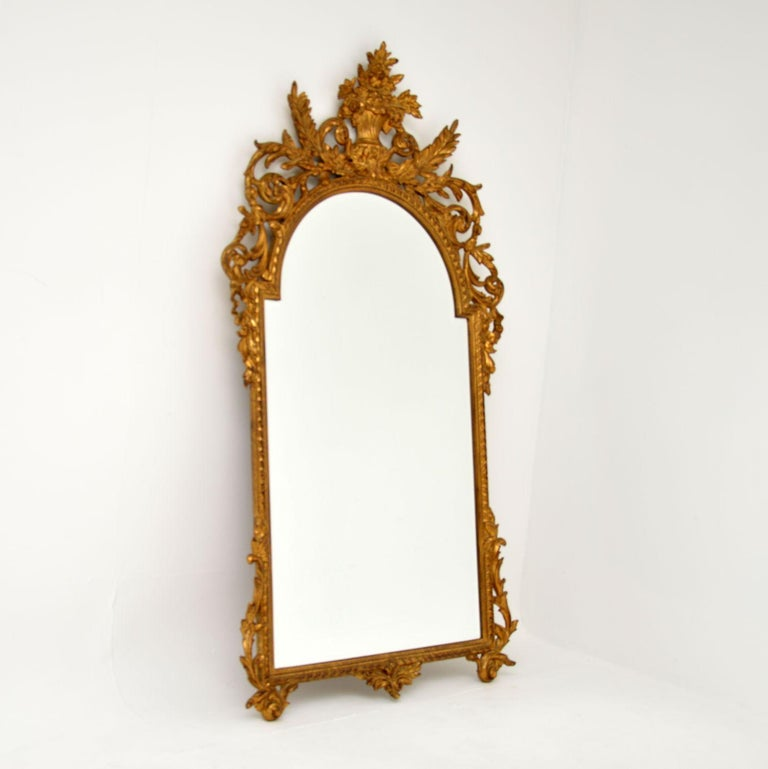 Louis XV Large Antique French Carved Gilt Wood Mirror For Sale