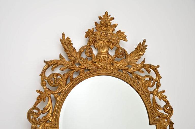 Large Antique French Carved Gilt Wood Mirror In Good Condition For Sale In London, GB