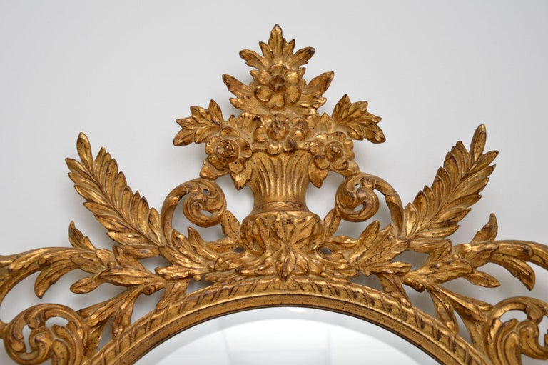 20th Century Large Antique French Carved Gilt Wood Mirror For Sale