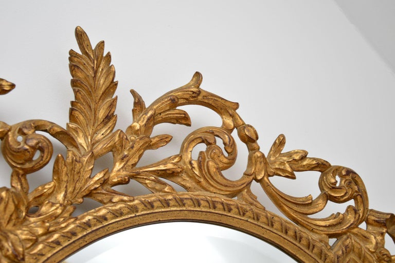 Giltwood Large Antique French Carved Gilt Wood Mirror For Sale