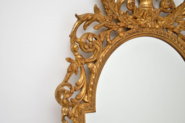 Large Antique French Carved Gilt Wood Mirror For Sale 1