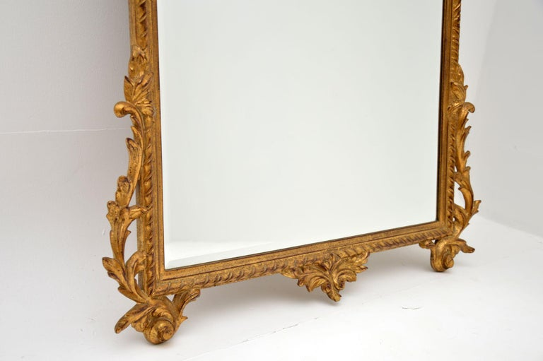 Large Antique French Carved Gilt Wood Mirror For Sale 2